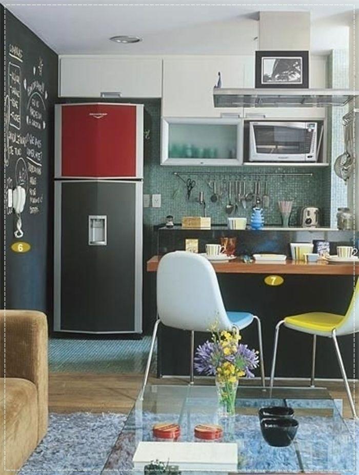 Sala Pequena Com Cozinha Americana ~ cozinhapequenacombalcao