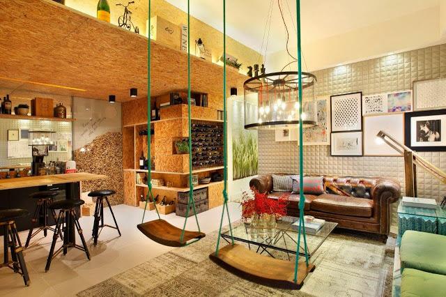 balanco-de-madeira-na-sala-criativa