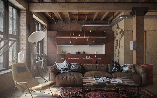 sala-industrial-couro-madeira-decoracao