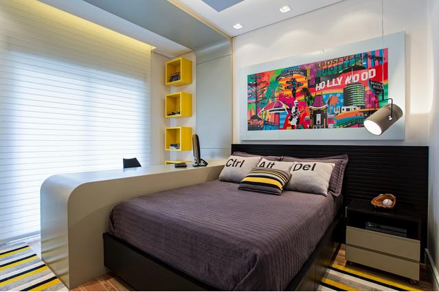 decoracao de apartamentos pequenos para homens : decoracao de apartamentos pequenos para homens:Formas dos móveis modernos e elementos divertidos, nas almofadas, no