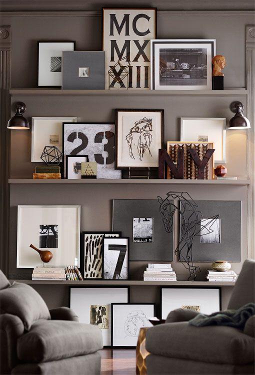 decoracao-sofisticada-estantes-com-quadros